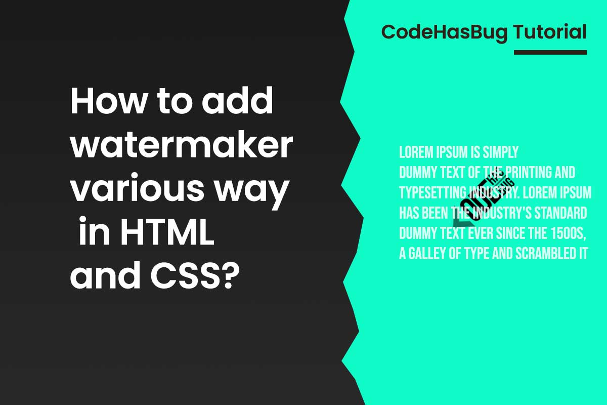 How to add watermaker various way in HTML and CSS