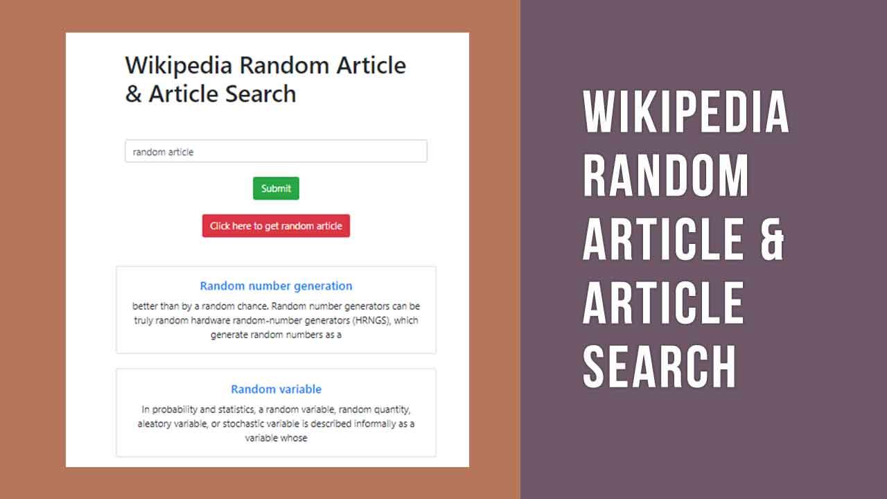 Wikipedia Random Article & Article Search