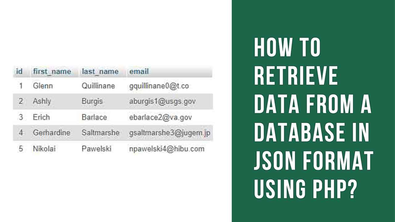 How to Retrieve data from a Database in JSON format using PHP?
